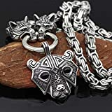 WTZWY Viking Men Stainless Steel Bear Head Norse Rune Amulet Pendant Necklace, with 3D Wolf Head...