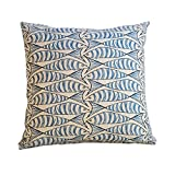 Seaside Fish Nautical Double Sided Cushion Cover. Sardine Design. Navy indigo blue fish against a...