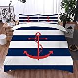 Mingdao bedding - Duvet Cover Set, Nautical Red Anchor Navy Blue and White Stripe Pattern...
