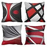 Emvency Set of 4 Throw Pillow Covers Modern Abstract Red Stripes Gray Black White Acrylic Bold Grey...