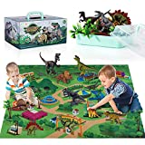 TEMI Dinosaur Toy Figure with Activity Play Mat & Trees, Educational Realistic Dinosaur Playset to...