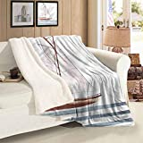 Nautical Cashmere Velvet Sailing Theme Boat Waves Autumn And Winter Thick Blanket Throw Size