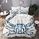 MAYBELOST bedding-Duvet Cover Set,Coastal Nautical Beach Crab,Microfibre 230x220 with 2 Pillowcase...