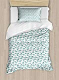 ABAKUHAUS Turquoise and White Duvet Cover Set Twin Size, Marine Pattern Watercolor Fishes Nautical...