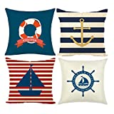 MIULEE Pack of 4 Nautical Sailing Linen Cushion Covers Decorative Square Throw Pillow Case...