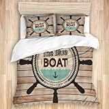 GugeABC Duvet Cover Sets Bed Sheets,Helm Anchor Wooden Board panel nautical,3 Piece Bedding Set with...