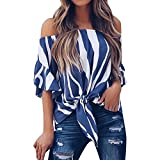 Women's casual t-shirt,NEW Women Striped Off Shoulder Waist Tie Blouse Short Sleeve Casual T Shirts...