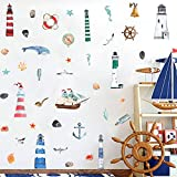 Watercolor Nautical Wall Decal, Lighthouse Sailboat Anchor with Ocean Sea Life Wall Sticker for Kids...