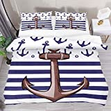 Josid Nautical Ship Anchor Navy Striped Duvet Cover Set,Comforter Cover 3 Pieces Bedding Set with...