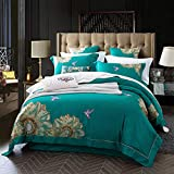 YIEBAI Grey color egyptian cotton bedding sets Embroidery bed set duvet cover bed sheet set...