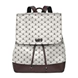 Women's Leather Backpack,Abstract Retro Nautical Style Shape and Lines Monochrome Classical Modern...