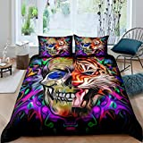 Skull Tiger Comforter Cover Set Boho Psychedelic Duvet Cover for Kids Boys Teens Colorful Abstract...