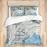 3 Pieces Duvet Cover,Nautical Sailboat Map,Quality Bedding Set with 1 Quit Cover and 2 Pillowcases...