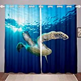 Sea Turtle Curtains 3D Reptile Printed Window Curtains for Bedroom Living Room for Kids Boys Girls...