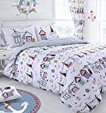 Childrens Nautical Beach Hut and Sailing Boats Striped Bedding Set (Double)