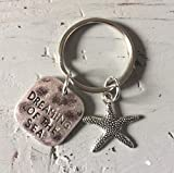 Dreaming of the sea and starfish charm keyring keychain planner charm bag charm gift nautical quote...