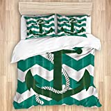 ASNIVI Washed Cotton Duvet Cover Set,Green Decor, Nautical Adventure Anchor in Stripe Waves,3 Pieces...
