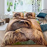 Loussiesd Sloth Comforter Cover Cute Animal Pattern Bedding Set 3D Brown Sloth Printed Duvet Cover...