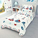 Duvet Cover + Pillowcase 90 cm x 120 cm Bedding Set Sailing Boats to fit cot 60x120 cm (90x120 cm)