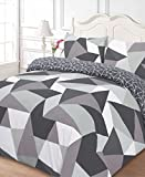 Dreamscene Polycotton Duvet Cover with Pillow Case Bedding King - Shapes Black
