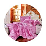 Silk Bedding Set Embroidery Bed Linens Tencel Satin Bed Sheet Set Jacquard Bedclothes Queen/King...