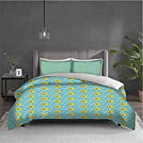 Yellow Submarine 3-pack (1 duvet cover and 2 pillowcases) bedding Aqua Pattern with Little Fish Fun...