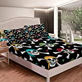 Loussiesd Skull Pattern Bed Sheet Set Boys Nautical Pirate Style Bedding Set Skeleton Design Fitted...