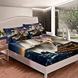Loussiesd Sailboat Printed Fitted Sheet Nautical Decor Bedding Set For Kids Women Men Adults Ocean...