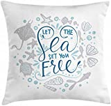 BONRI Nautical Throw Pillow Cushion Cover, Let The Sea Set You Free Words with Shellfish Turtle and...