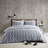 Mordern Stripe Reversible Printed Duvet Cover Set Double Size - Grey & White Neatly Striped Motifs...