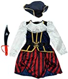 Get Wivvit Girls Pirate Dress Hat & Foam Sword Dressing Up Costume Outfit Size 2 to 4 Years, 2-4...