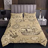 Loussiesd Anchor Bedspread Nautical Decor Sailboat Quilted Coverlet For Kids Children Teens Compass...