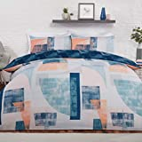Sleepdown Textured Geometric Panels Navy Coral Reversible Soft Easy Care Duvet Cover Quilt Bedding...