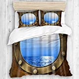 ALLMILL Nautical Ship Porthole Digital Graphic Print Ocean Sea Boat Window Theme,College Dorm Room...