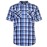 Mens Lee Cooper Chest Pockets Short Sleeve Checked Cotton Shirt Top (XX Large, White Navy Blue)
