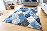 Modern Carved Diamonds Marble Design Small Large Navy Blue Silver Grey Thick Floor Long Carpet Rugs...