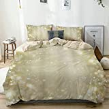 RUBEITA Bedding-Duvet Cover Set,Beige,Pretty Gold and Silver Sparkle Bokeh,Microfibre 135x200 with 2...