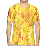 DDHHFJ Mens 3D Printed T Shirts,Lively Daisies Fresh Bouquets with Natural Seasonal Bedding Plant...