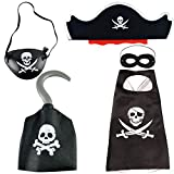 BESTZY 5PCS Pirate Costume for Kids with Pirate Accessories Set Pirate Hat Eye Fancy Dress for...