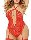 EVELUST Plus Size Lingerie for Women, Twisted Keyhole Opening High Criss-Cross Plunging Lace Trim...