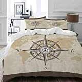 MIGAGA bedding - Duvet Cover Set, Nautical Compass on Background Old Map with Torn Border Frame...