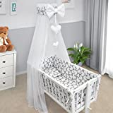 Baby Bedding Set Crib Cradle 10 Pieces Pillow Duvet Cover Bumper Canopy to fit Crib 90x40cm 100%...