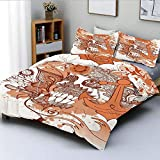 Duvet Cover Set,Retro Revival Floral Pattern with Rose Nautical Icon Anchor Ethnic Paisley and Heart...