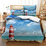 Seaside Lighthouse Duvet Cover with 2 Pillowcases 3D Printed Blue Landscape Bedding Set with Zipper...