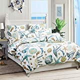 USTIDE 3-Piece King Nautical Duvet Cover Set Beach Theme Duvet Covers Seaside Ocean Seashell Bedding...