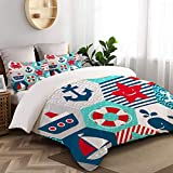 WINCAN 3 Pc Bedding Set Seamless Nautical Themed Vector Pattern On Decorative Duvet Cover Set With 2...