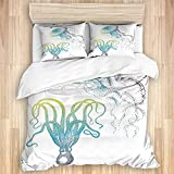 MEJX Bedding Sheet-Duvet Cover Set,Octopus and Jellyfish Illustration Nautical Themed Art Underwater...