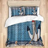 713 GICUNI Duvet cover with Pillowcase Quilt Bedding set,Nautical Rusty Anchor with Marine Rope on...