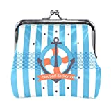 BONIPE Stipes Nautical Anchor Background Coin Purse Leather Mini Clutch Pouch Wallet for Women Girls