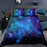 Galaxy Bedding Set King, Girls Boys Kids Teen Comforter Cover, Outer Space Duvet Cover Galaxy Stars...